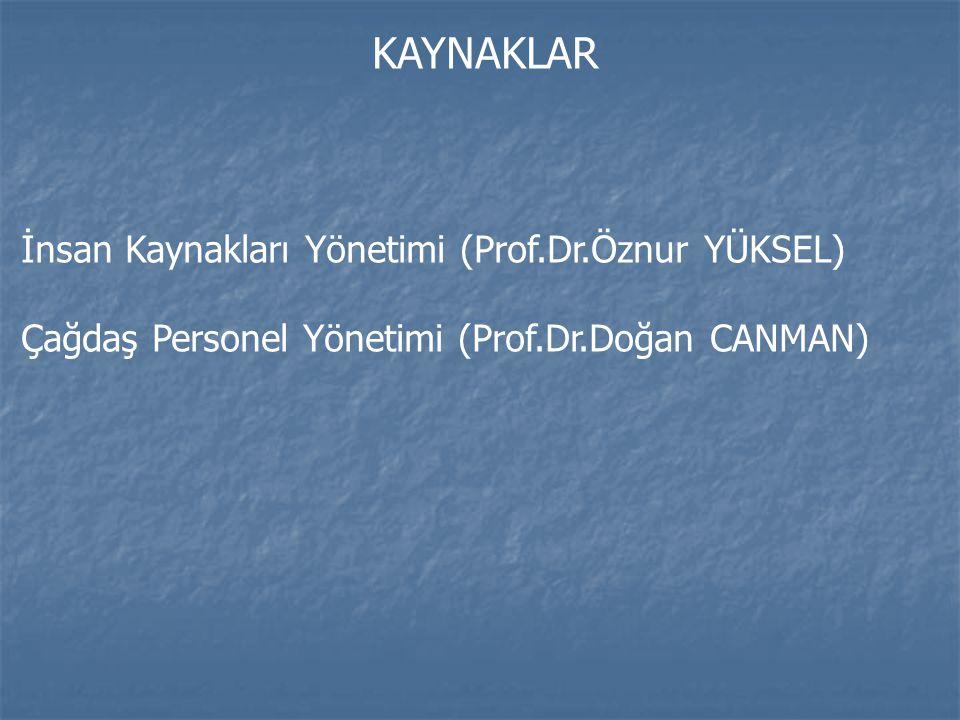KAYNAKLAR İnsan Kaynakları Yönetimi (Prof.Dr.Öznur YÜKSEL) Çağdaş Personel Yönetimi (Prof.Dr.Doğan CANMAN)