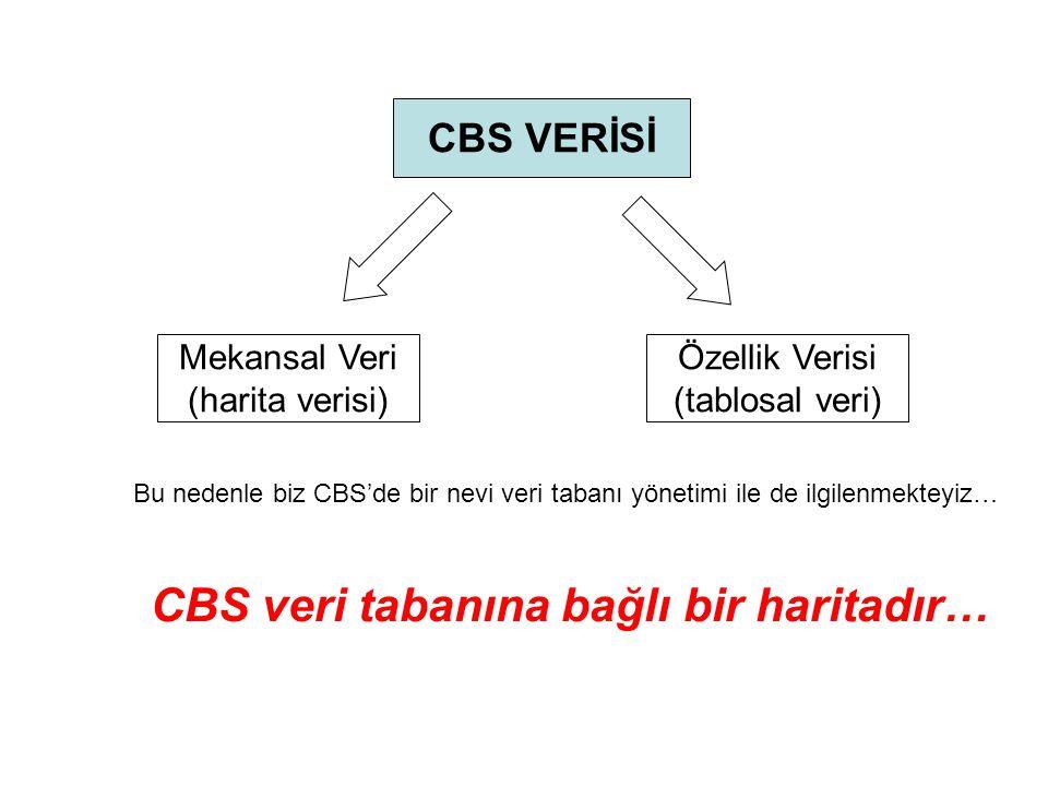 CBS'nin bazı özellikleri: 1.Veri tabanına bağlı bir haritalama sistemidir.