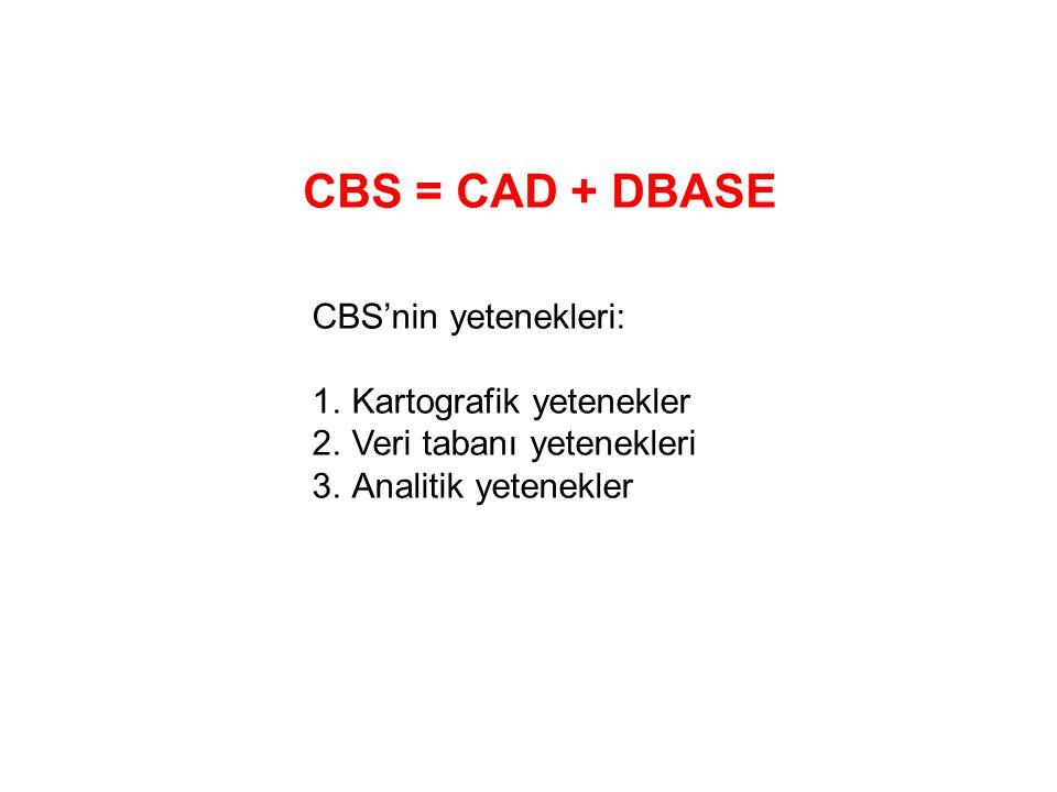 CBS = CAD + DBASE CBS'nin yetenekleri: 1.Kartografik yetenekler 2.Veri tabanı yetenekleri 3.Analitik yetenekler