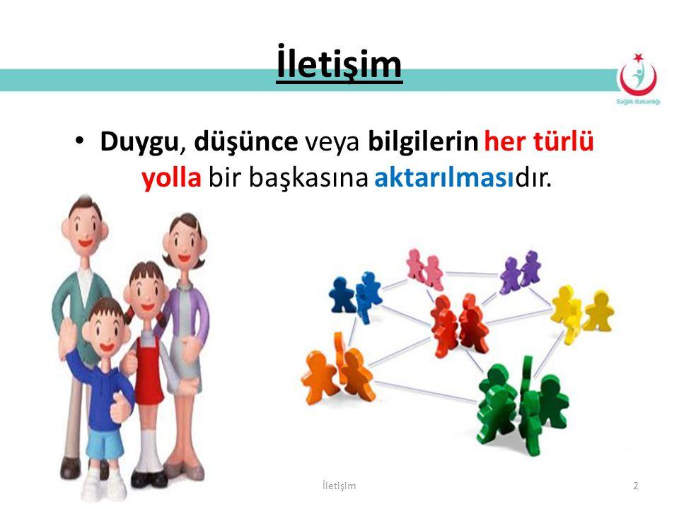 İletişim 2 Duygu, düşünce veya bilgilerin her türlü yolla bir başkasına aktarılmasıdır.
