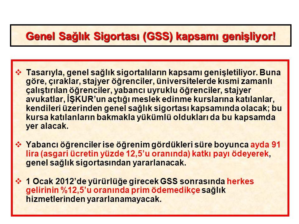 10 Genel Sağlık Sigortası (GSS) kapsamı genişliyor!  Tasarıyla, genel sağlık sigortalıların kapsamı genişletiliyor. Buna göre, çıraklar, stajyer öğre