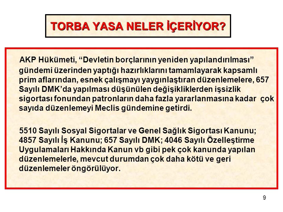 """9 TORBA YASA NELER İÇERİYOR? AKP Hükümeti, """"Devletin borçlarının yeniden yapılandırılması"""" gündemi üzerinden yaptığı hazırlıklarını tamamlayarak kapsa"""