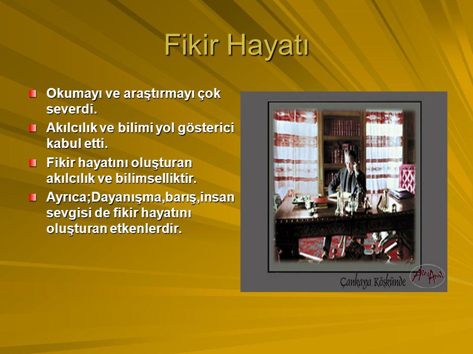 Siyasi Hayatı Atatürk,kendini her alanda geliştirdi. Devletlerin yönetim şekillerini inceledi. TBMM'nin açılmasını sağladı. Cumhuriyetin kurulmasını s