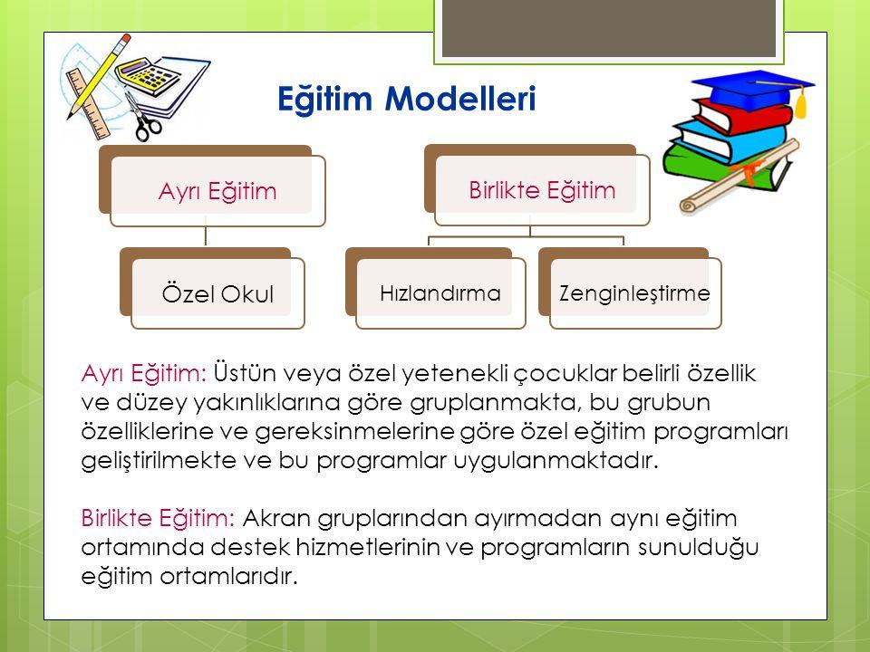 Eğitim Modelleri Ayrı EğitimÖzel OkulBirlikte Eğitim HızlandırmaZenginleştirme Ayrı Eğitim: Üstün veya özel yetenekli çocuklar belirli özellik ve düze