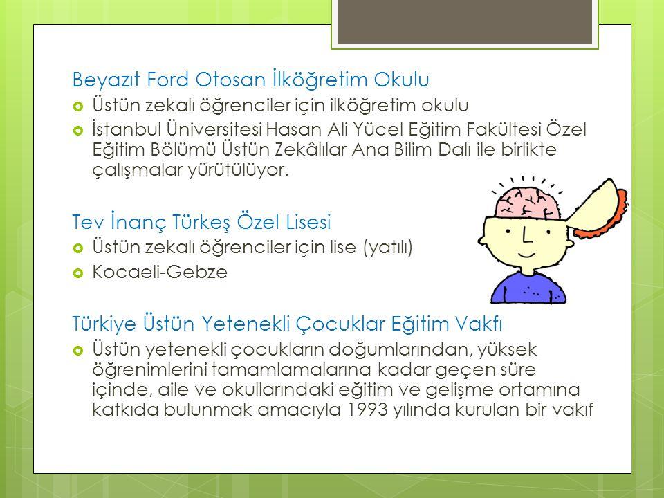Beyazıt Ford Otosan İlköğretim Okulu  Üstün zekalı öğrenciler için ilköğretim okulu  İstanbul Üniversitesi Hasan Ali Yücel Eğitim Fakültesi Özel Eği
