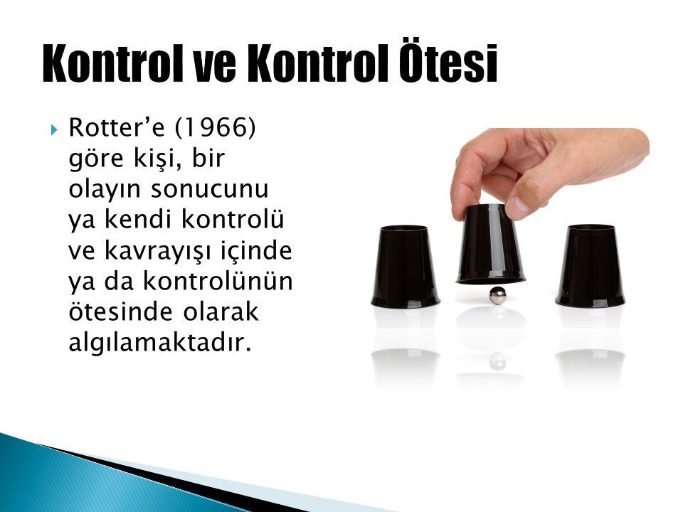  Rotter'e (1966) göre kişi, bir olayın sonucunu ya kendi kontrolü ve kavrayışı içinde ya da kontrolünün ötesinde olarak algılamaktadır.