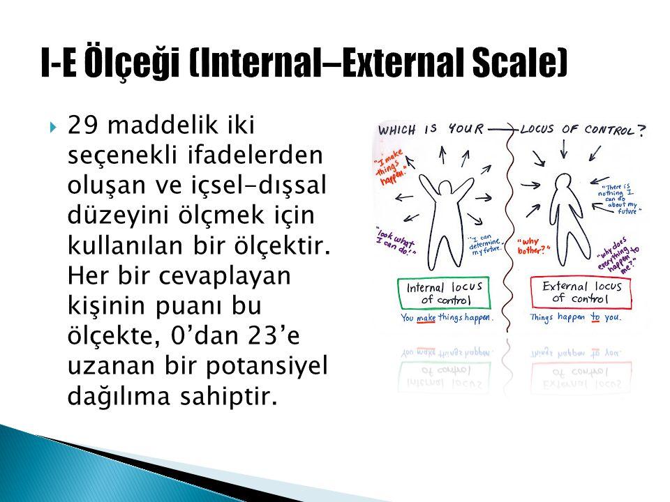 29 maddelik iki seçenekli ifadelerden oluşan ve içsel-dışsal düzeyini ölçmek için kullanılan bir ölçektir. Her bir cevaplayan kişinin puanı bu ölçek