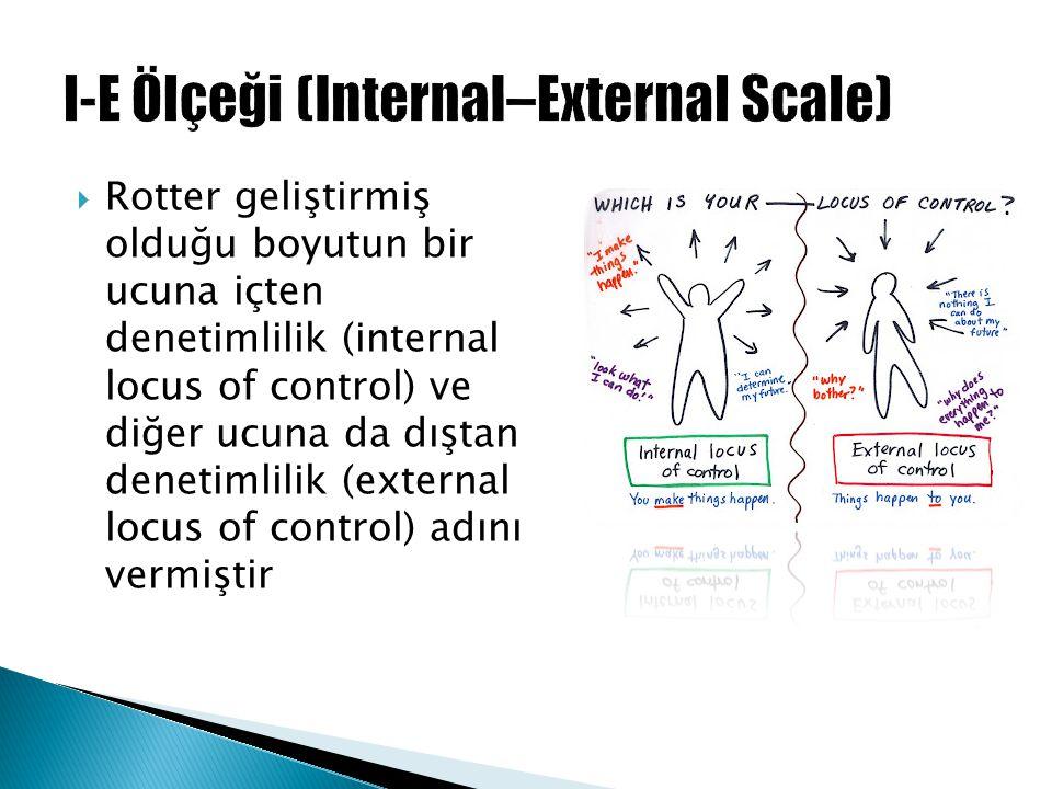  Rotter geliştirmiş olduğu boyutun bir ucuna içten denetimlilik (internal locus of control) ve diğer ucuna da dıştan denetimlilik (external locus of