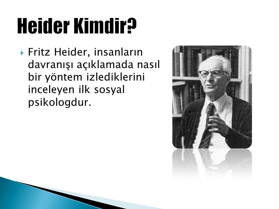  Fritz Heider, insanların davranışı açıklamada nasıl bir yöntem izlediklerini inceleyen ilk sosyal psikologdur.