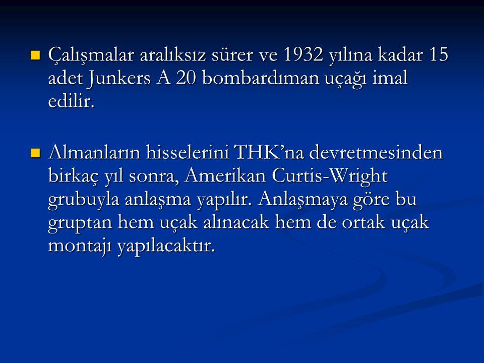 Çalışmalar aralıksız sürer ve 1932 yılına kadar 15 adet Junkers A 20 bombardıman uçağı imal edilir. Çalışmalar aralıksız sürer ve 1932 yılına kadar 15