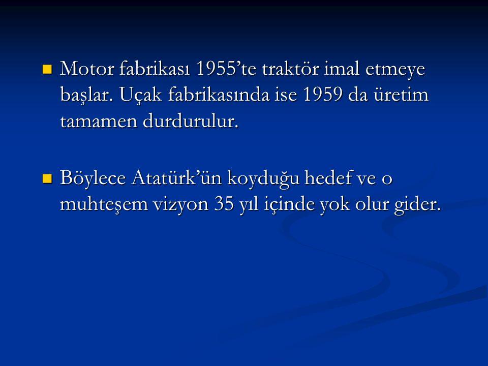 Motor fabrikası 1955'te traktör imal etmeye başlar. Uçak fabrikasında ise 1959 da üretim tamamen durdurulur. Motor fabrikası 1955'te traktör imal etme