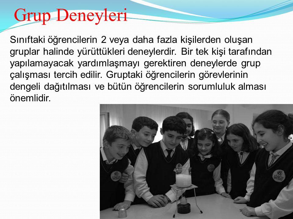 Grup Deneyleri Sınıftaki öğrencilerin 2 veya daha fazla kişilerden oluşan gruplar halinde yürüttükleri deneylerdir.