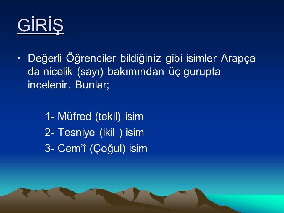 GİRİŞ Değerli Öğrenciler bildiğiniz gibi isimler Arapça da nicelik (sayı) bakımından üç gurupta incelenir. Bunlar; 1- Müfred (tekil) isim 2- Tesniye (