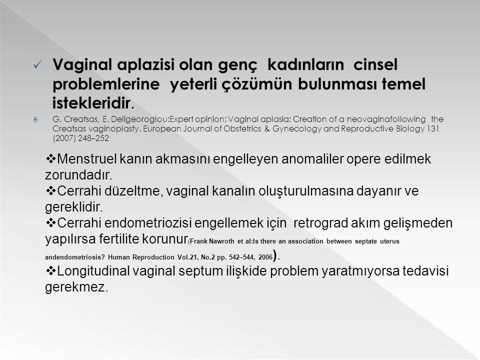 Vaginal aplazisi olan genç kadınların cinsel problemlerine yeterli çözümün bulunması temel istekleridir.  G. Creatsas, E. Deligeoroglou:Expert opinio