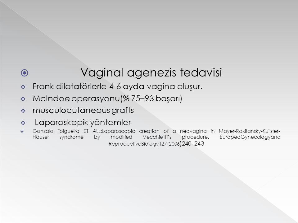  Vaginal agenezis tedavisi  Frank dilatatörlerle 4-6 ayda vagina oluşur.  McIndoe operasyonu(% 75–93 başarı)  musculocutaneous grafts  Laparoskop