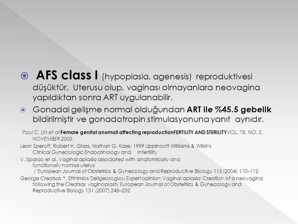  AFS class I (hypoplasia, agenesis) reproduktivesi düşüktür. Uterusu olup, vaginası olmayanlara neovagina yapıldıktan sonra ART uygulanabilir.  Gona