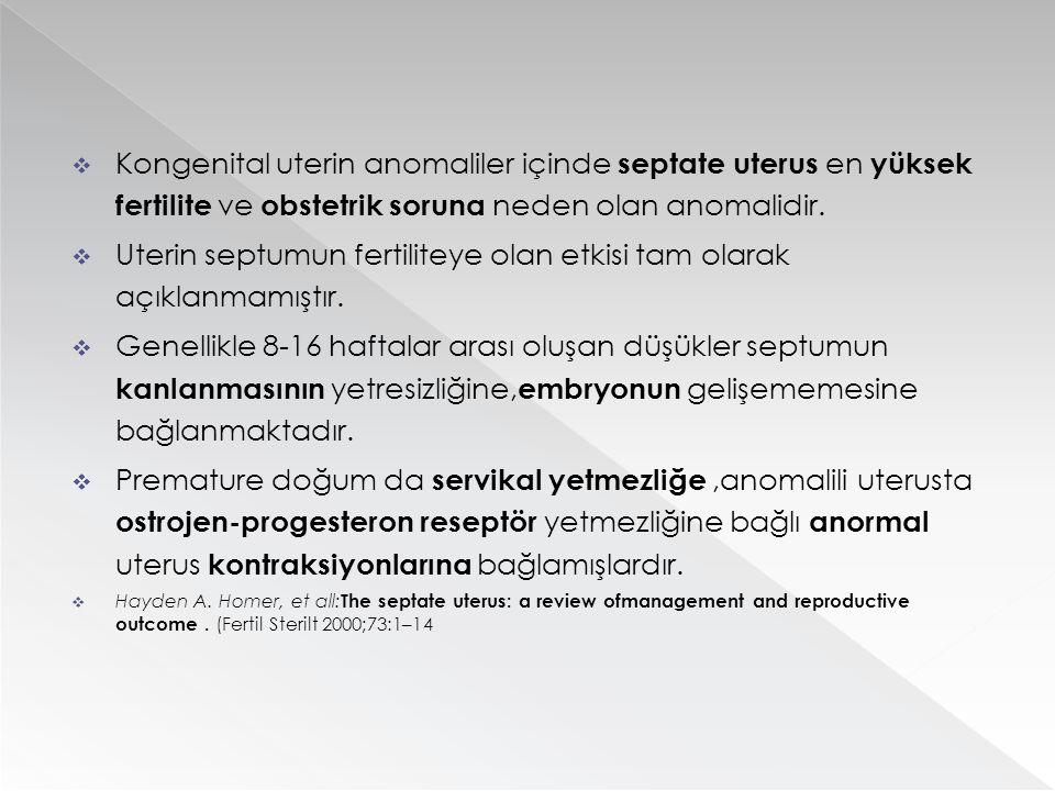  Kongenital uterin anomaliler içinde septate uterus en yüksek fertilite ve obstetrik soruna neden olan anomalidir.  Uterin septumun fertiliteye olan