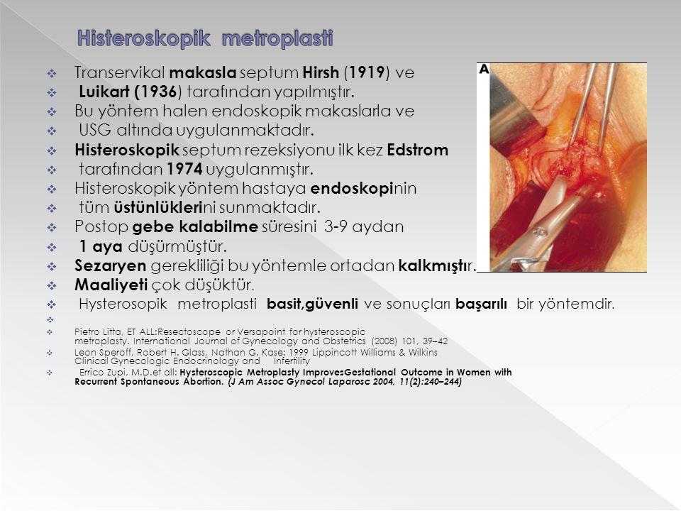  Transervikal makasla septum Hirsh ( 1919 ) ve  Luikart (1936 ) tarafından yapılmıştır.  Bu yöntem halen endoskopik makaslarla ve  USG altında uyg