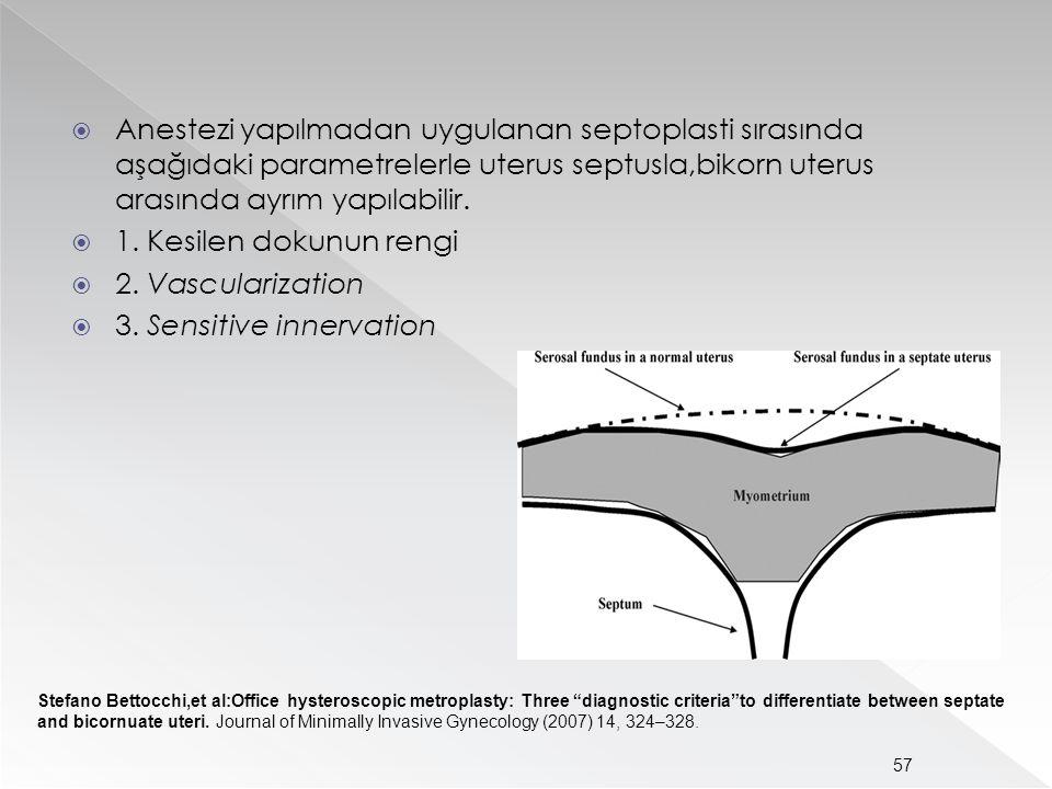  Anestezi yapılmadan uygulanan septoplasti sırasında aşağıdaki parametrelerle uterus septusla,bikorn uterus arasında ayrım yapılabilir.  1. Kesilen
