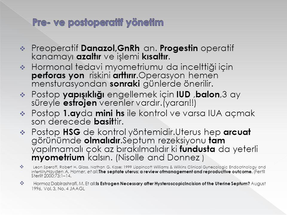  Preoperatif Danazol,GnRh an. Progestin operatif kanamayı azaltır ve işlemi kısaltır.  Hormonal tedavi myometriumu da incelttiği için perforas yon r