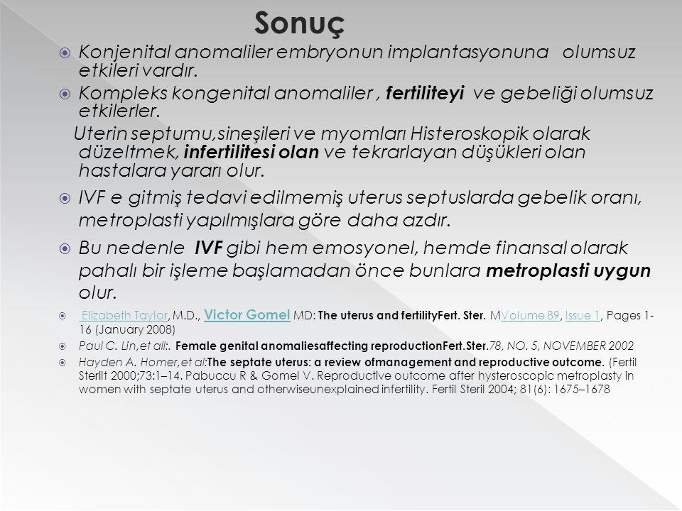 Sonuç  Konjenital anomaliler embryonun implantasyonuna olumsuz etkileri vardır.  Kompleks kongenital anomaliler, fertiliteyi ve gebeliği olumsuz etk