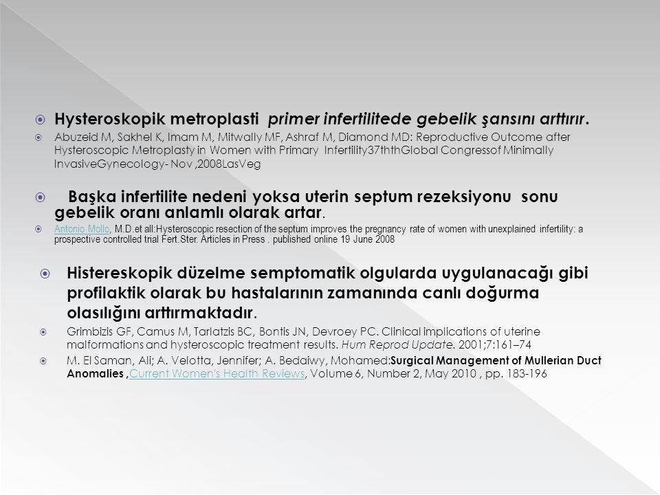  Hysteroskopik metroplasti primer infertilitede gebelik şansını arttırır.  Abuzeid M, Sakhel K, Imam M, Mitwally MF, Ashraf M, Diamond MD: Reproduct