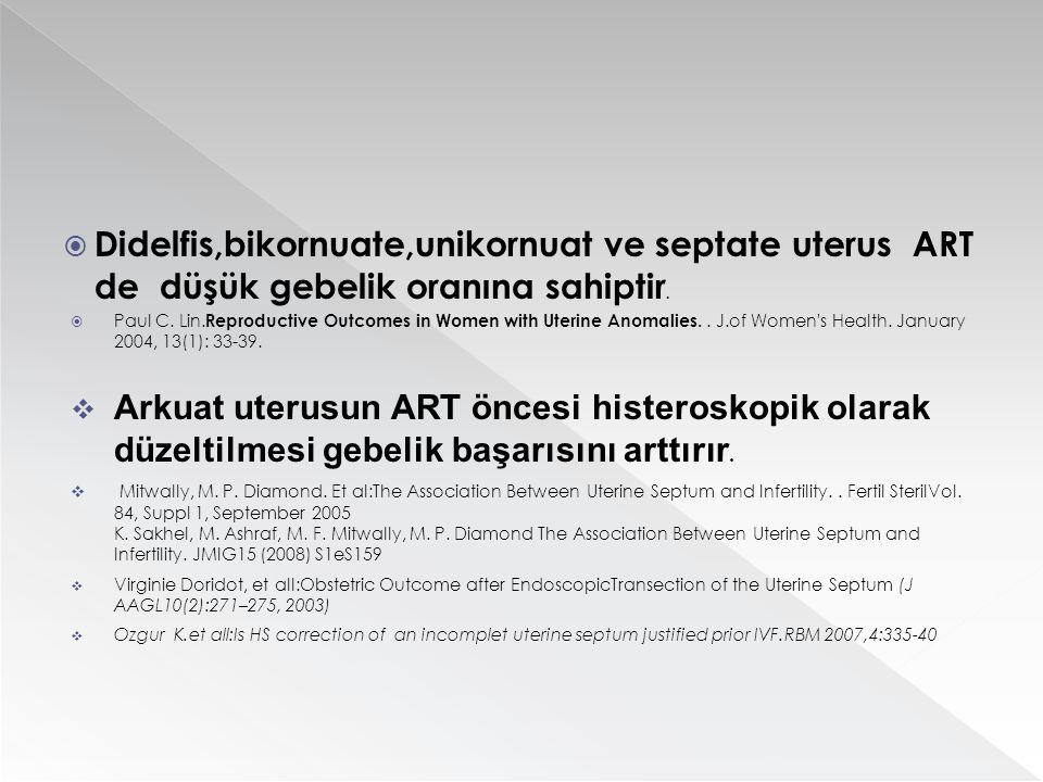  Didelfis,bikornuate,unikornuat ve septate uterus ART de düşük gebelik oranına sahiptir.  Paul C. Lin. Reproductive Outcomes in Women with Uterine A