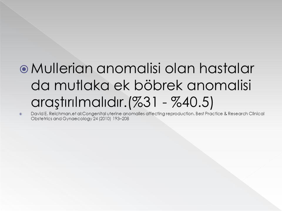  Mullerian anomalisi olan hastalar da mutlaka ek böbrek anomalisi araştırılmalıdır.(%31 - %40.5)  David E. Reichman,et al:Congenital uterine anomali