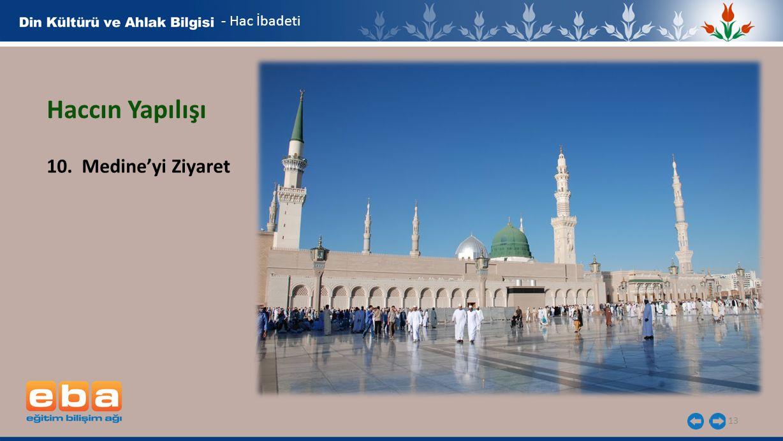 13 - Hac İbadeti Haccın Yapılışı 10. Medine'yi Ziyaret