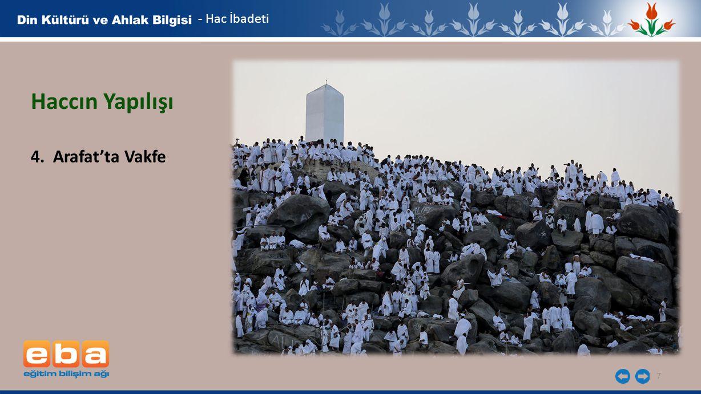 7 - Hac İbadeti Haccın Yapılışı 4. Arafat'ta Vakfe