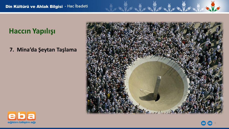 9 - Hac İbadeti Haccın Yapılışı 7. Mina'da Şeytan Taşlama