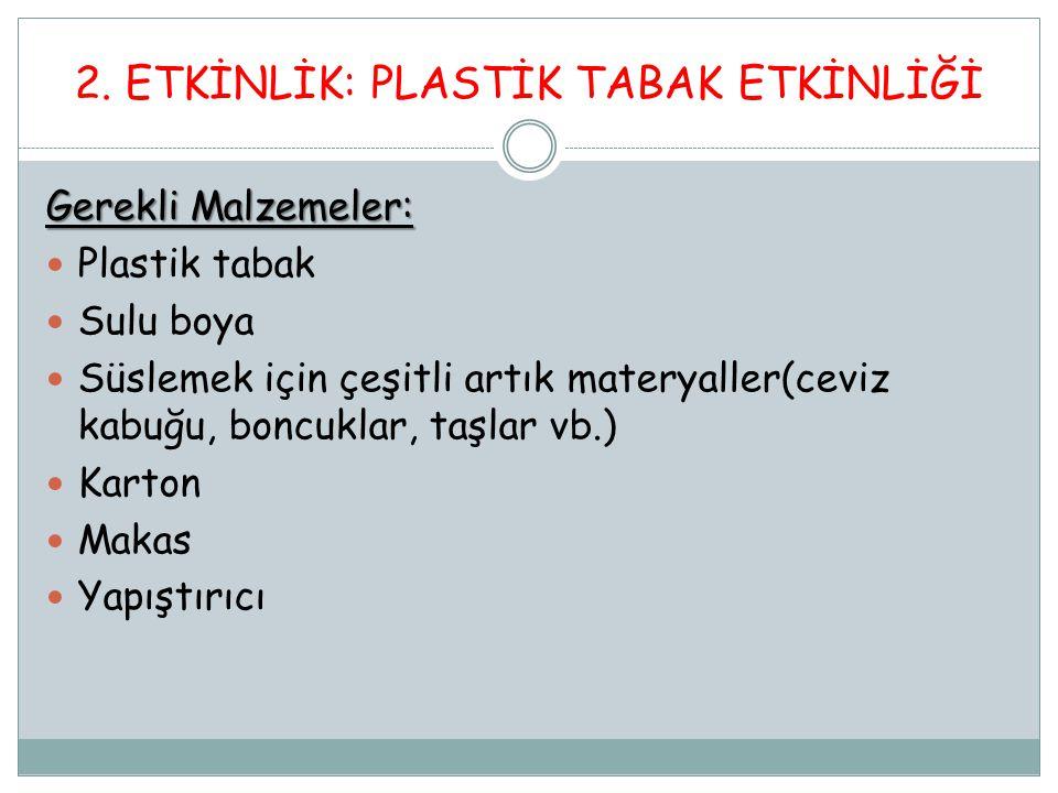 2. ETKİNLİK: PLASTİK TABAK ETKİNLİĞİ Gerekli Malzemeler: Plastik tabak Sulu boya Süslemek için çeşitli artık materyaller(ceviz kabuğu, boncuklar, taşl