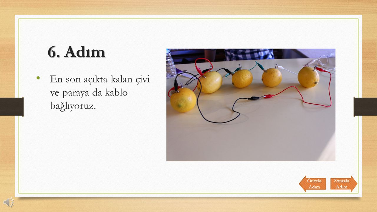 5. Adım 5 limonu da bu şekilde birbirine bağlıyoruz. Sonraki Adım Önceki Adım