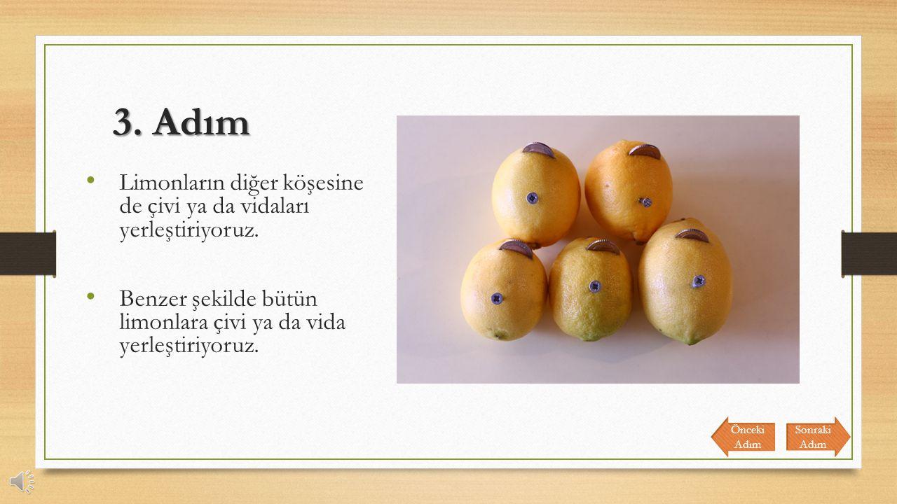 3.Adım Limonların diğer köşesine de çivi ya da vidaları yerleştiriyoruz.