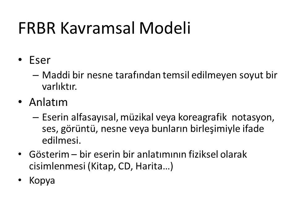 FRBR Kavramsal Modeli Eser – Maddi bir nesne tarafından temsil edilmeyen soyut bir varlıktır. Anlatım – Eserin alfasayısal, müzikal veya koreagrafik n