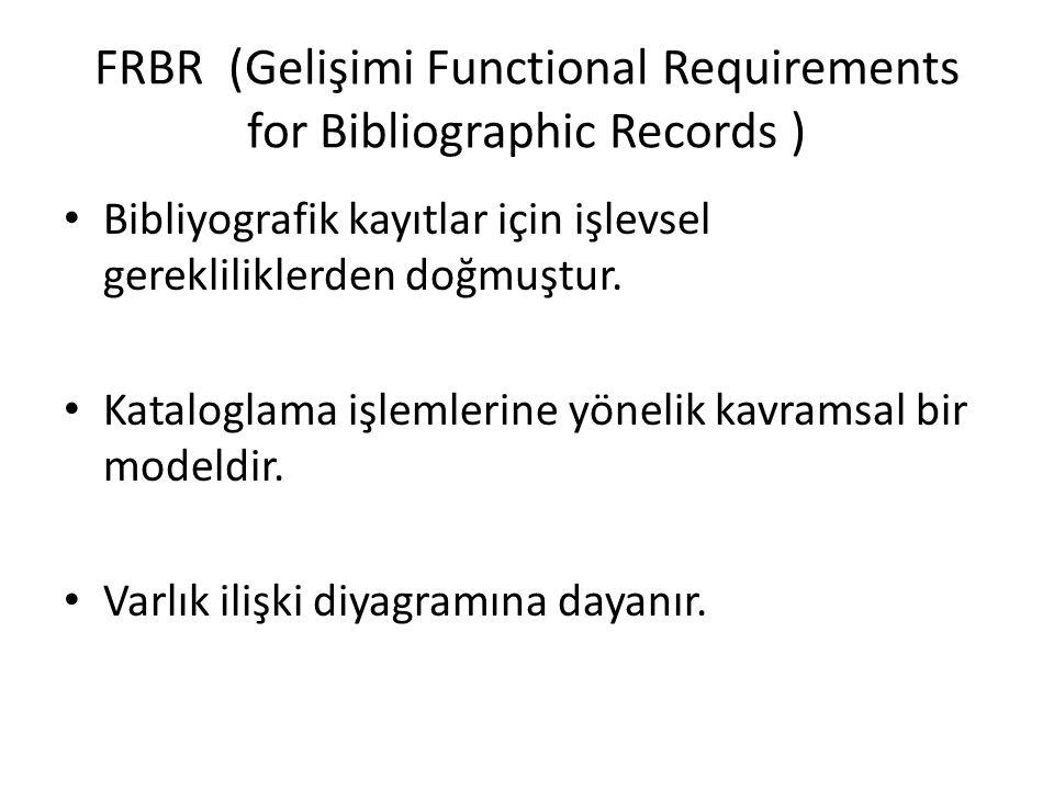 FRBR (Gelişimi Functional Requirements for Bibliographic Records ) Bibliyografik kayıtlar için işlevsel gerekliliklerden doğmuştur. Kataloglama işleml
