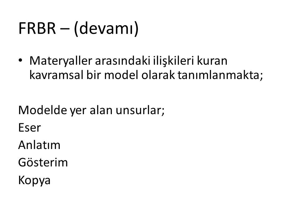 FRBR – (devamı) Materyaller arasındaki ilişkileri kuran kavramsal bir model olarak tanımlanmakta; Modelde yer alan unsurlar; Eser Anlatım Gösterim Kop