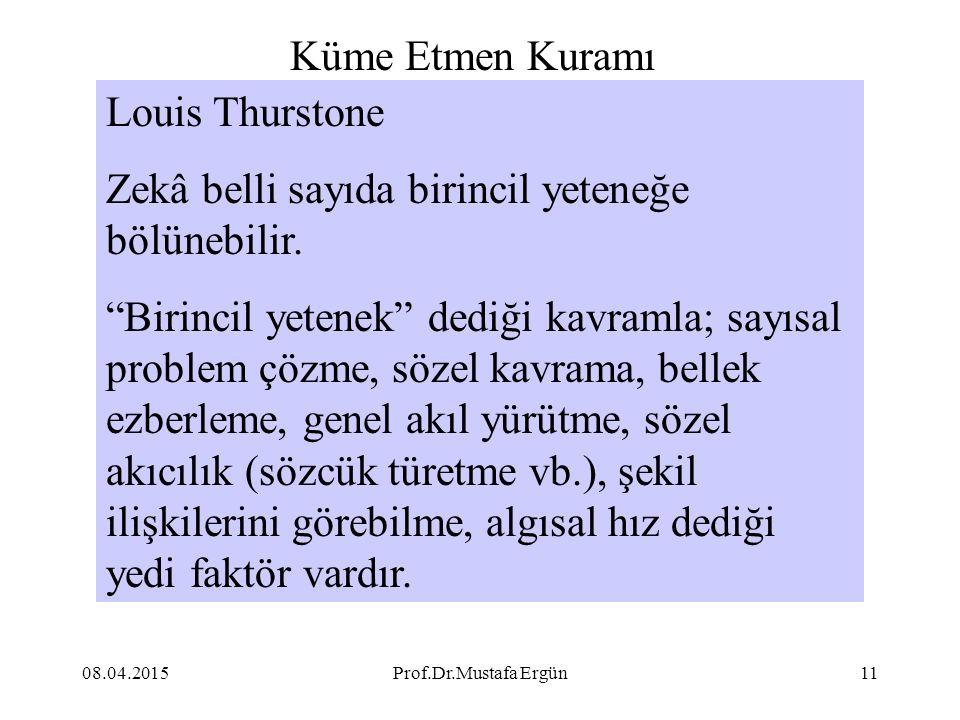 """08.04.2015Prof.Dr.Mustafa Ergün11 Louis Thurstone Zekâ belli sayıda birincil yeteneğe bölünebilir. """"Birincil yetenek"""" dediği kavramla; sayısal problem"""