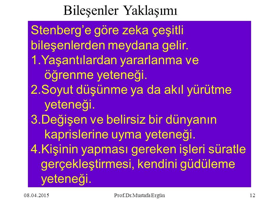 08.04.2015Prof.Dr.Mustafa Ergün12 Stenberg'e göre zeka çeşitli bileşenlerden meydana gelir. 1.Yaşantılardan yararlanma ve öğrenme yeteneği. 2.Soyut dü