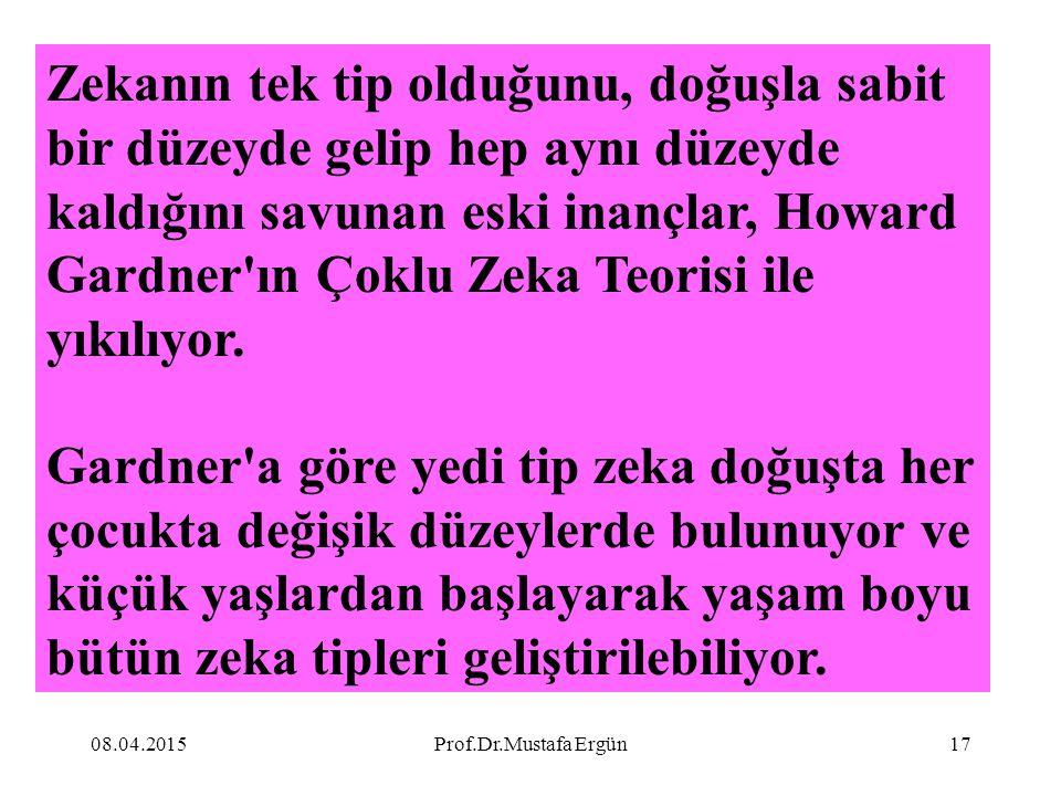 08.04.2015Prof.Dr.Mustafa Ergün17 Zekanın tek tip olduğunu, doğuşla sabit bir düzeyde gelip hep aynı düzeyde kaldığını savunan eski inançlar, Howard G