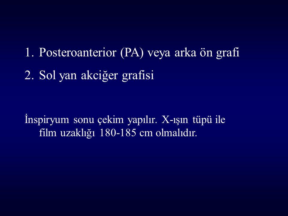 1.Posteroanterior (PA) veya arka ön grafi 2.Sol yan akciğer grafisi İnspiryum sonu çekim yapılır. X-ışın tüpü ile film uzaklığı 180-185 cm olmalıdır.