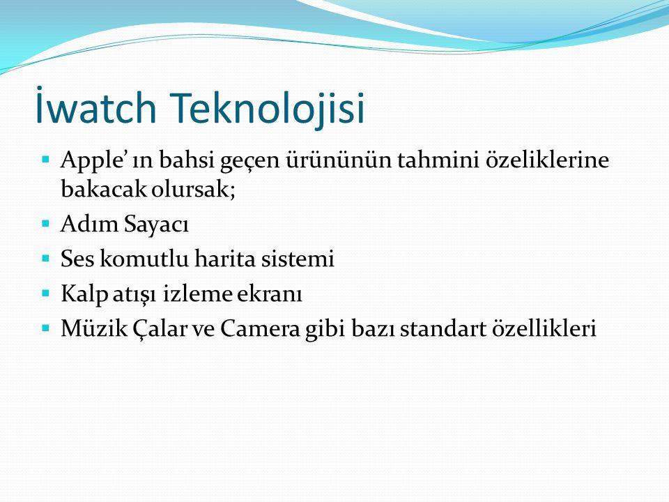 İwatch Teknolojisi  Apple' ın bahsi geçen ürününün tahmini özeliklerine bakacak olursak;  Adım Sayacı  Ses komutlu harita sistemi  Kalp atışı izle