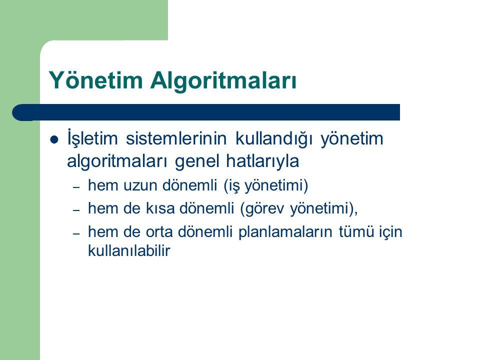 Yönetim Algoritmaları İşletim sistemlerinin kullandığı yönetim algoritmaları genel hatlarıyla – hem uzun dönemli (iş yönetimi) – hem de kısa dönemli (görev yönetimi), – hem de orta dönemli planlamaların tümü için kullanılabilir
