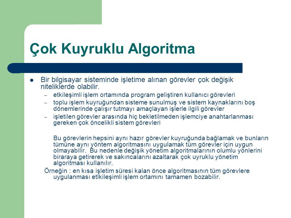 Çok Kuyruklu Algoritma Bir bilgisayar sisteminde işletime alınan görevler çok değişik niteliklerde olabilir.