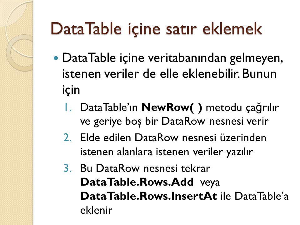 DataTable içine satır eklemek DataTable içine veritabanından gelmeyen, istenen veriler de elle eklenebilir. Bunun için 1.DataTable'ın NewRow( ) metodu