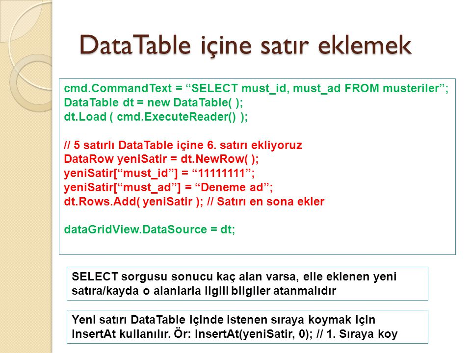 "DataTable içine satır eklemek cmd.CommandText = ""SELECT must_id, must_ad FROM musteriler""; DataTable dt = new DataTable( ); dt.Load ( cmd.ExecuteReade"
