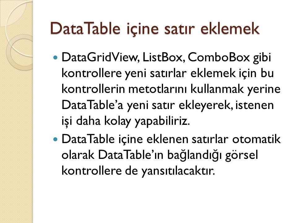 DataTable içine satır eklemek DataGridView, ListBox, ComboBox gibi kontrollere yeni satırlar eklemek için bu kontrollerin metotlarını kullanmak yerine