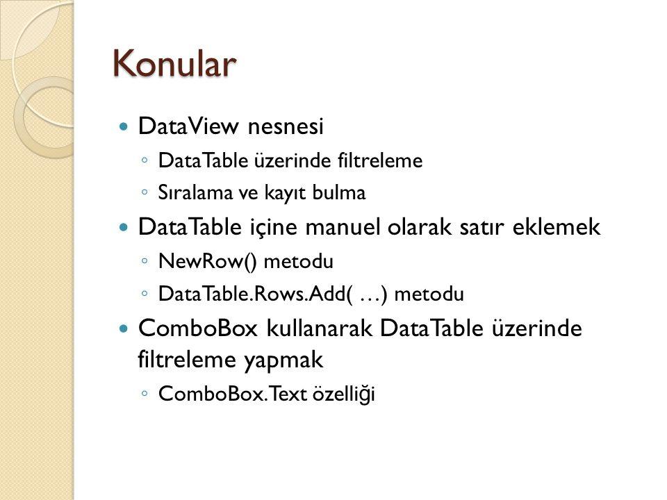 Konular DataView nesnesi ◦ DataTable üzerinde filtreleme ◦ Sıralama ve kayıt bulma DataTable içine manuel olarak satır eklemek ◦ NewRow() metodu ◦ Dat