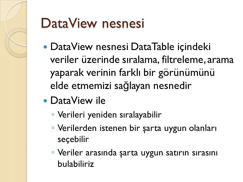 DataView nesnesi DataTable (dt) üzerinde bir DataView nesnesi oluşturmak: DataView dv = new DataView( dt ); veya DataView dv = new DataView( ); dv.Table = dt;
