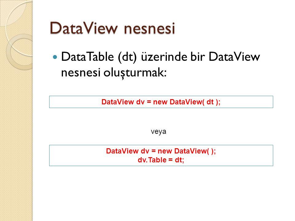 DataView nesnesi DataTable (dt) üzerinde bir DataView nesnesi oluşturmak: DataView dv = new DataView( dt ); veya DataView dv = new DataView( ); dv.Tab